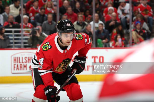 Jan Rutta of the Chicago Blackhawks waits for the faceoff in the first period against the Florida Panthers at the United Center on December 12 2017...