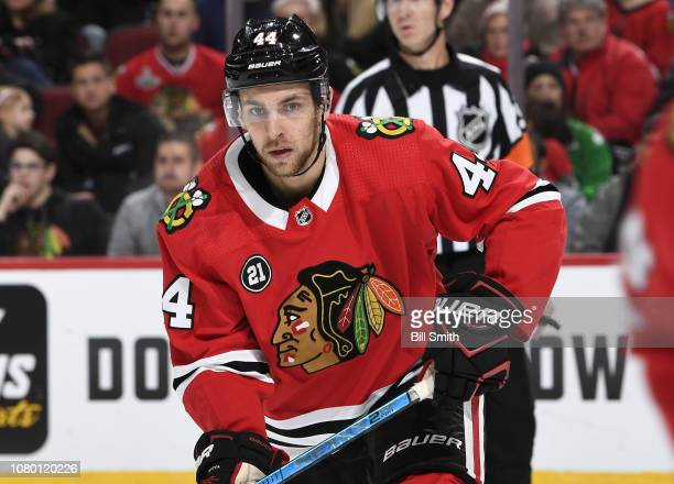 Jan Rutta of the Chicago Blackhawks watches for the puck in the second period against the Calgary Flames at the United Center on December 2 2018 in...
