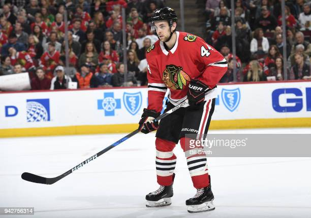 Jan Rutta of the Chicago Blackhawks watches for the puck in the second period against the San Jose Sharks at the United Center on March 26 2018 in...