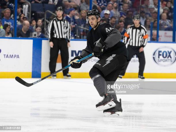 Jan Rutta of the Tampa Bay Lightning against the Detroit Red Wings during the second period at Amalie Arena on March 9 2019 in Tampa Florida nn