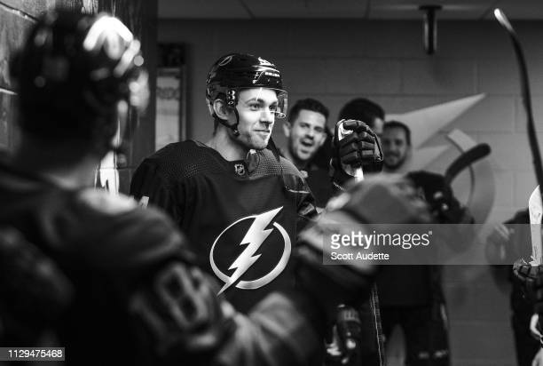 Jan Rutta of the Tampa Bay Lightning gets ready for his first game with the team against the Detroit Red Wings at Amalie Arena on March 9 2019 in...