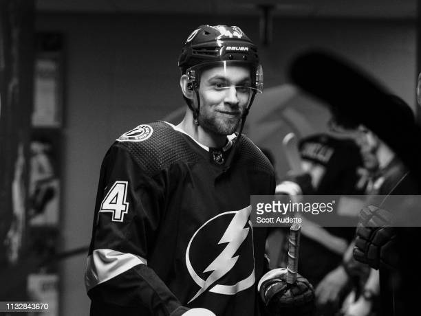 Jan Rutta of the Tampa Bay Lightning gets ready for the game against the Boston Bruins at Amalie Arena on March 25 2019 in Tampa Florida