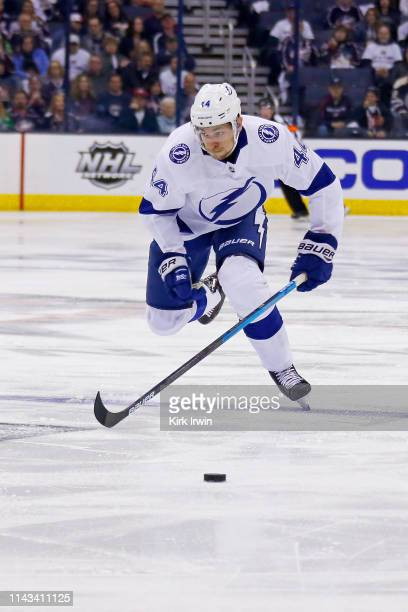 Jan Rutta of the Tampa Bay Lightning skates after the puck in Game Four of the Eastern Conference First Round during the 2019 NHL Stanley Cup...