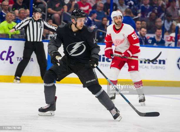 Jan Rutta of the Tampa Bay Lightning skates against the Detroit Red Wings during the second period at Amalie Arena on March 9 2019 in Tampa Florida