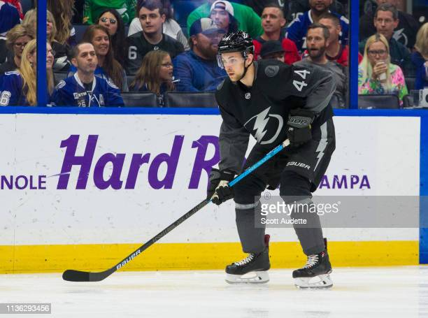 Jan Rutta of the Tampa Bay Lightning skates against the Washington Capitals during the first period at Amalie Arena on March 16 2019 in Tampa Florida...