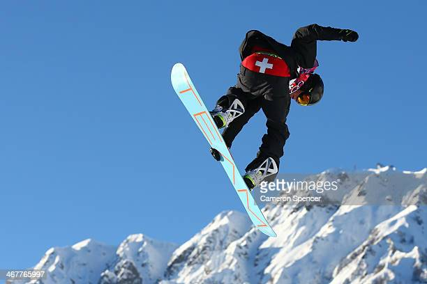 Jan Scherrer of Switzerland competes during the Snowboard Men's Slopestyle Semifinals during day 1 of the Sochi 2014 Winter Olympics at Rosa Khutor...