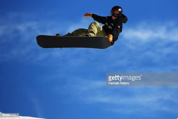 Jan Scherrer of Switzerland competes during the Winter Games NZ FIS Men's Snowboard World Cup Halfpipe Finals at Cardrona Alpine Resort on September...