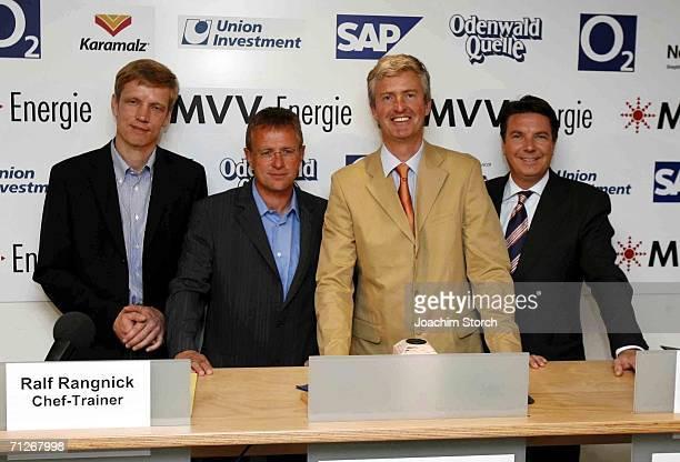 Jan Schindelmeister manager Ralf Rangnick head coach Bernhard Peters sport director Jochen Rotthaus chairman pose during a press conference of German...
