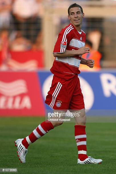 Jan Schlaudraff of Bayern smiles after scoring his first goal during the friendly match between Darmstadt 98 and Bayern Munich at Boellenfalltor...