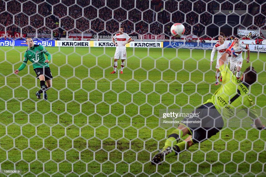 Jan Schlaudraff of Hannover scores the 2nd team goal witha penalty kick against Sven Ulreich, keeper of Stuttgart during the Bundesliga match between VfB Stuttgart and Hannover 96 at Mercedes-Benz Arena on November 11, 2012 in Stuttgart, Germany.