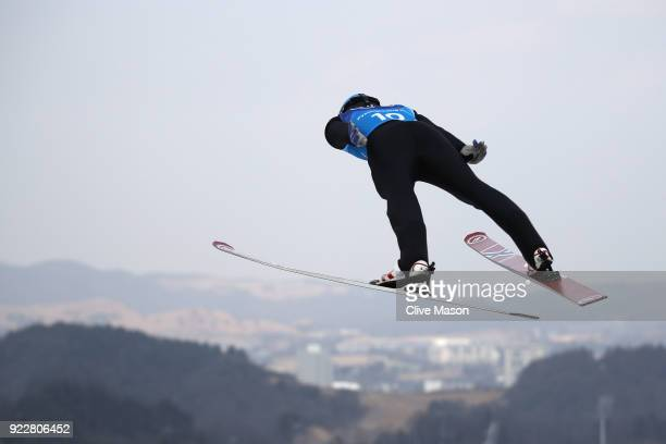 Jan Schmid of Norway competes during the Nordic Combined Team Gundersen LH/4x5km Ski Jumping Trial Round on day thirteen of the PyeongChang 2018...