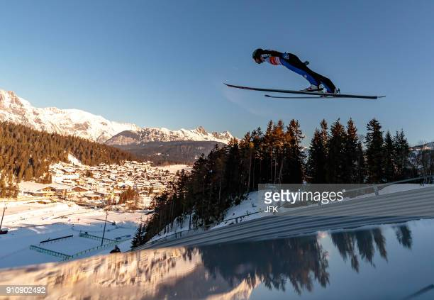 Jan Schmid of Norway competes during the trial jump during the Seefeld Nordic Combined Triple of FIS Nordic Combined World Cup on 27 January 2018 in...