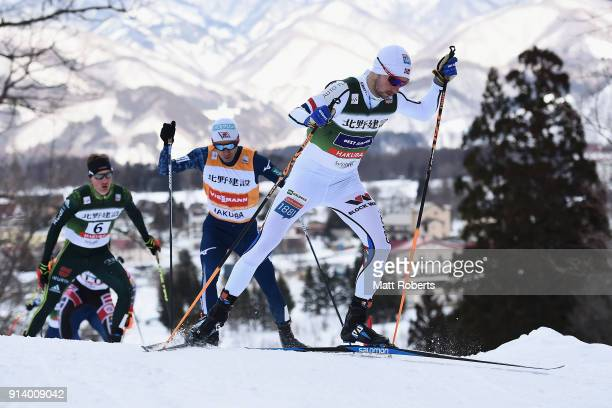 Jan Schmid of Norway competes in the Individual Gundersen LH/10km during day two of the FIS Nordic Combined World Cup Hakuba on February 4 2018 in...