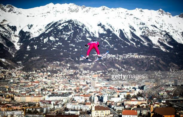 Jan Schmid of Norway jumps during the ski jumping training for the Nordic Combined ahead of the FIS Nordic World Ski Championships the on February...