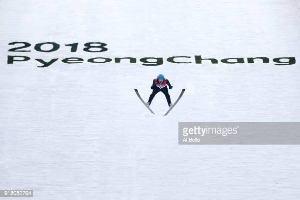 Jan Schmid of Norway makes a jump during the Nordic Combined Individual Gundersen Normal Hill and 10km Cross Country on day five of the PyeongChang...
