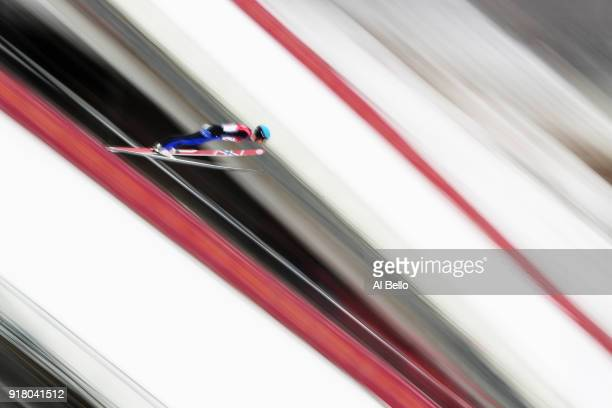 Jan Schmid of Norway makes a trial jump during the Nordic Combined Individual Gundersen Normal Hill and 10km Cross Country on day five of the...