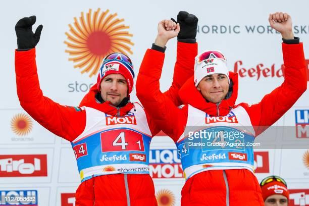 Jan Schmid of Norway takes 2nd place, Jarl Magnus Riiber of Norway takes 2nd place during the FIS Nordic World Ski Championships Men's Nordic...