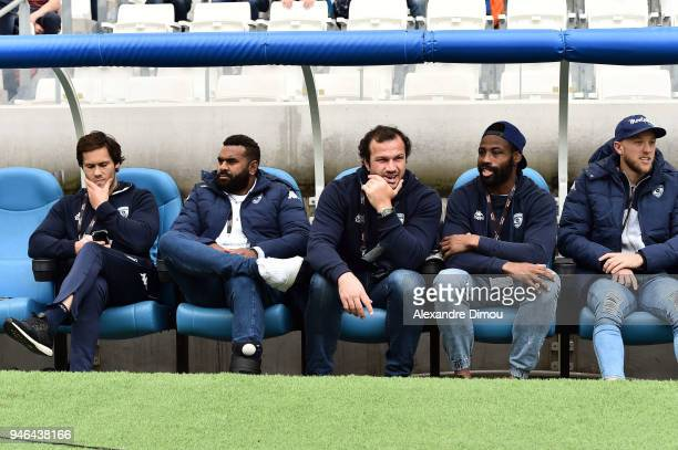 Jan Serfontein Jim Nagusa Bismarck Du Plessis Fulgence Ouedraogo and Jesse Mogg of Montpellier during the French Top 14 match between Toulon and...