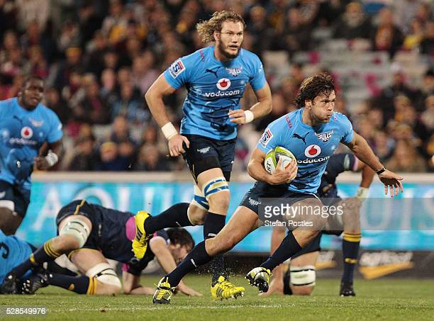 Jan Serfontein of the Bulls runs the ball during the round 11 Super Rugby match between the Brumbies and the Bulls at GIO Stadium on May 6 2016 in...