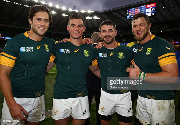 Jan Serfontein with Jesse Kriel Willie le Roux and Duane Vermeulen of South Africa during the Rugby World Cup Quarter Final match between South...