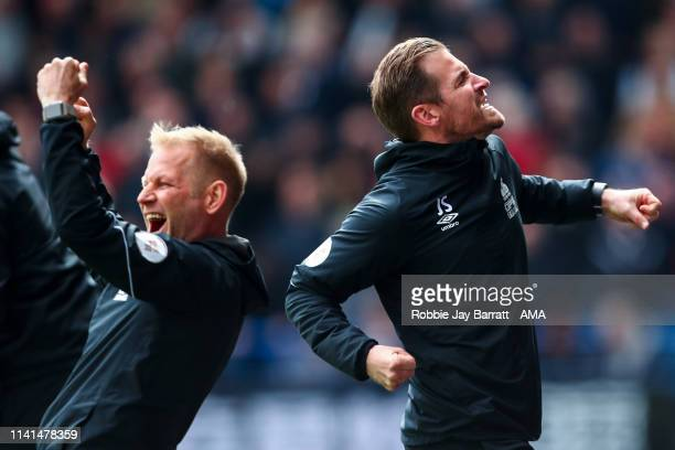 Jan Siewert head coach / manager of Huddersfield Town celebrates during the Premier League match between Huddersfield Town and Manchester United at...