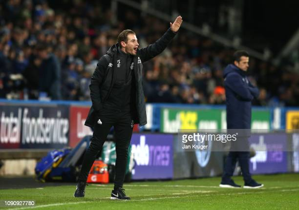Jan Siewert Manager of Huddersfield Town gives his team instructions during the Premier League match between Huddersfield Town and Everton at John...