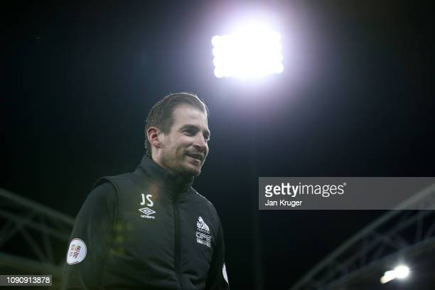 Jan Siewert Manager of Huddersfield Town looks on prior to the Premier League match between Huddersfield Town and Everton at John Smith's Stadium on...