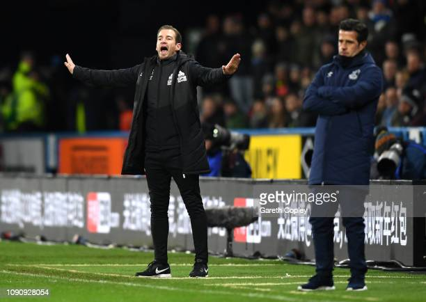 Jan Siewert Manager of Huddersfield Town reacts during the Premier League match between Huddersfield Town and Everton at John Smith's Stadium on...