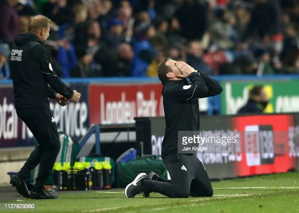 Jan Siewert Manager of Huddersfield Town reacts during the Premier League match between Huddersfield Town and Wolverhampton Wanderers at John Smith's...