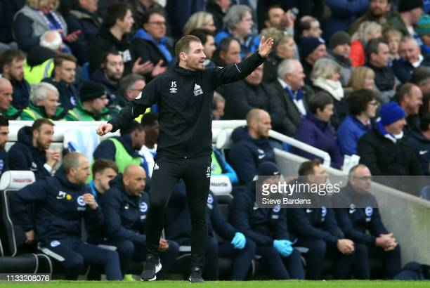 Jan Siewert Manager of Huddersfield Town reacts during the Premier League match between Brighton Hove Albion and Huddersfield Town at American...