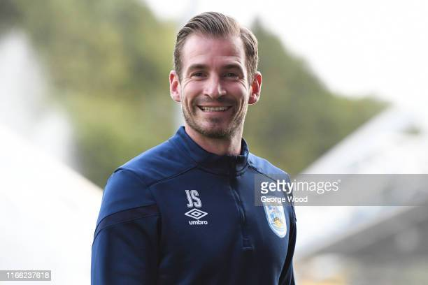 Jan Siewert manager of Huddersfield Town smiles prior to the Sky Bet Championship match between Huddersfield Town and Derby County at John Smith's...