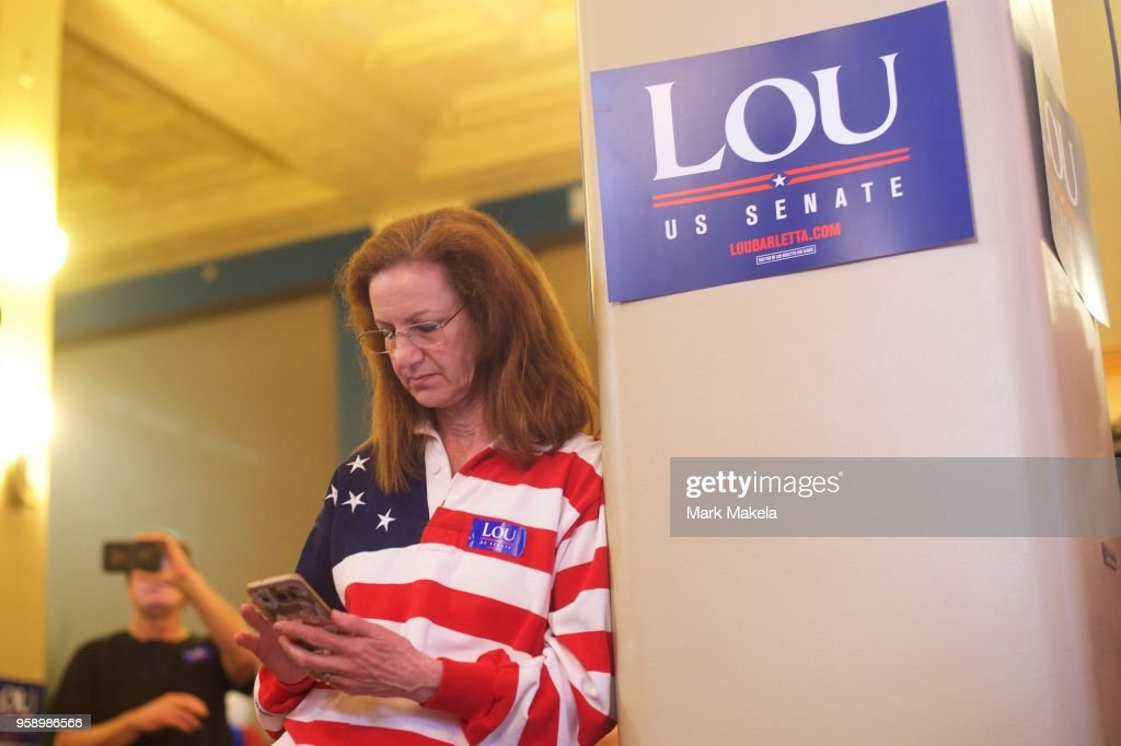 Jan Sloot, 63, checks her phone for election results before U.S. Congressman Lou Barletta (R - Pa.) arrives at his party in the 2018 Pennsylvania Primary Election for U.S. Senator on May 15, 2018 in Hazleton, Pennsylvania. In the second major May primary day nationwide, four states go to the polls: Idaho, Nebraska, Oregon, and Pennsylvania.
