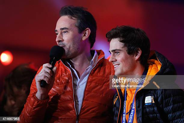 Jan Smeekens is interviewed on the main stage during the Welcome Home Reception Held For Dutch Winter Olympic Athletes on February 24 2014 in Assen...