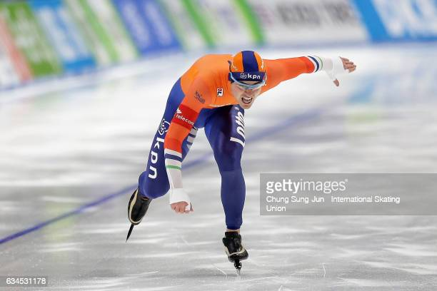 Jan Smeekens of Netherlands compete in the Men 500m during the ISU World Single Distances Speed Skating Championships Gangneung Test Event For...