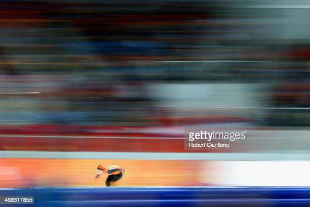 Jan Smeekens of the Netherlands competes during the Men's 500 m Race 1 of 2 Speed Skating event during day three of the Sochi 2014 Winter Olympics at...