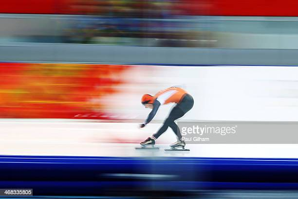 Jan Smeekens of the Netherlands competes during the Men's 500 m Race 2 of 2 Speed Skating event during day 3 of the Sochi 2014 Winter Olympics at...