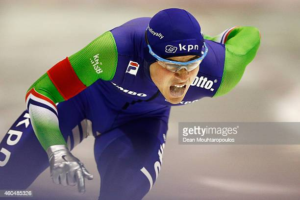 Jan Smeekens of the Netherlands competes in the Division A 2nd 500m Mens race on day three of the ISU World Cup Speed Skating held at Thialf Ice...