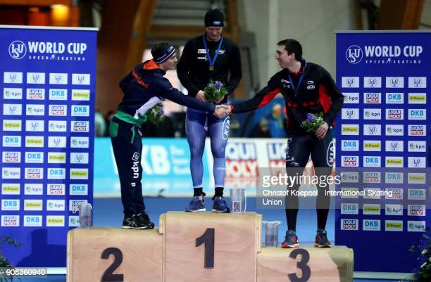 Jan Smeekens of the Netherlands poses during the medal ceremony after winning the 2nd place, Havard Holmefjord Lorentzen of Norway poses during the...