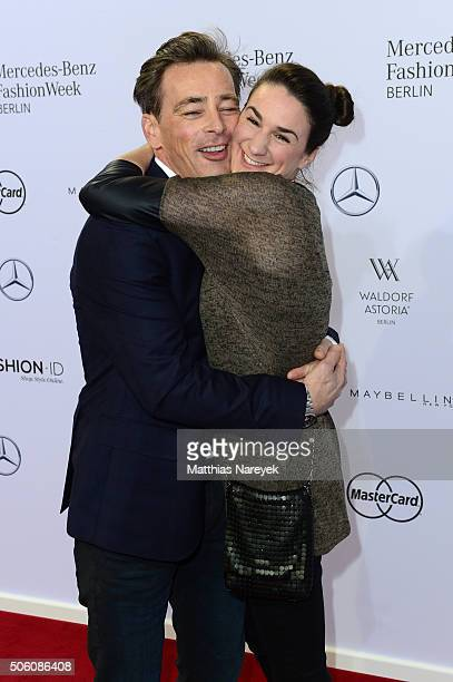Jan Sosniok and his wife Nadine Moeller attend the Baldessarini show during the MercedesBenz Fashion Week Berlin Autumn/Winter 2016 at Brandenburg...