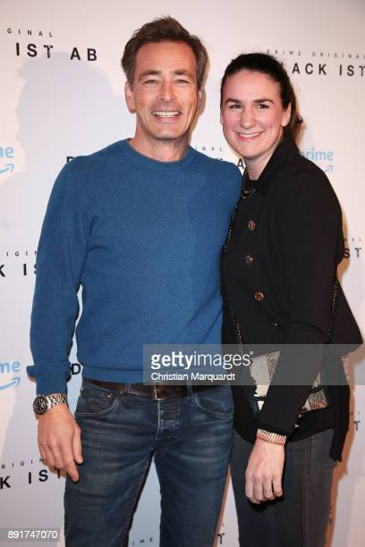Jan Sosniok and his wife Nadine Moellers attend the photo call of the 'Der Lack ist ab' at Astor Film Lounge on December 13 2017 in Berlin Germany