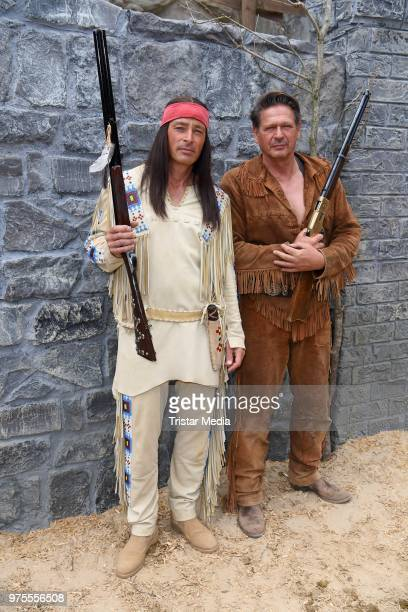 Jan Sosniok Joshy Peters during the 'Winnetou und das Geheimnis der Felsenburg' on set photo call for the Karl May Festival on June 15 2018 in Bad...