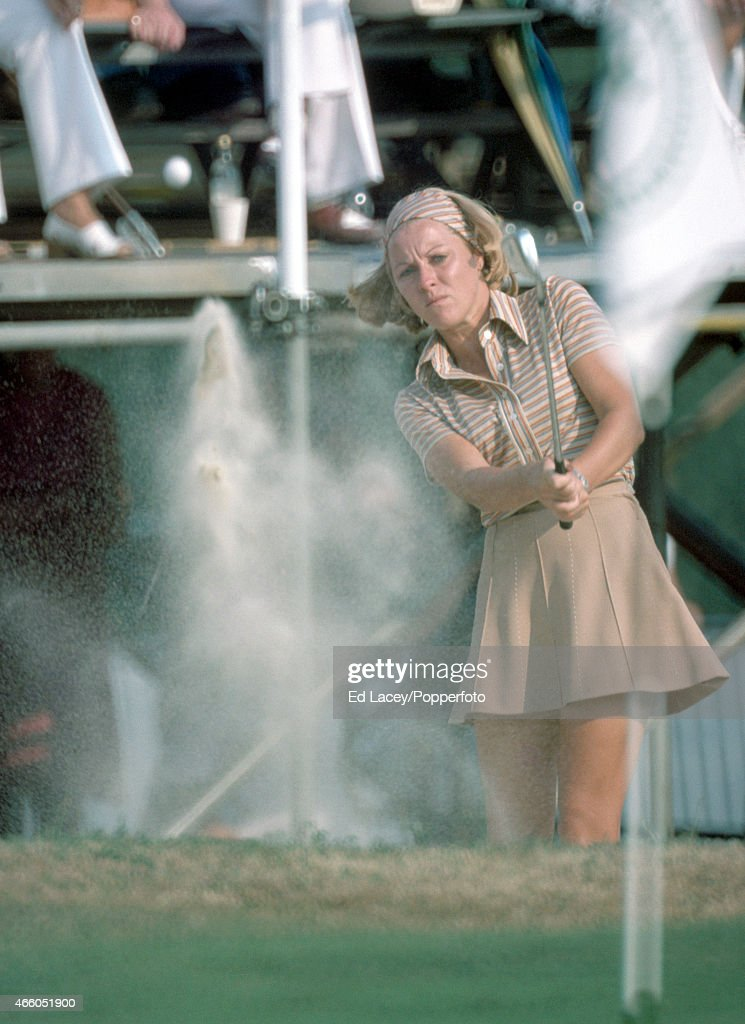 Jan Stephenson of Australia blasts out of a bunker during the Colgate European Women's Open Golf Championship at Sunningdale Golf Club on 8th August 1975.