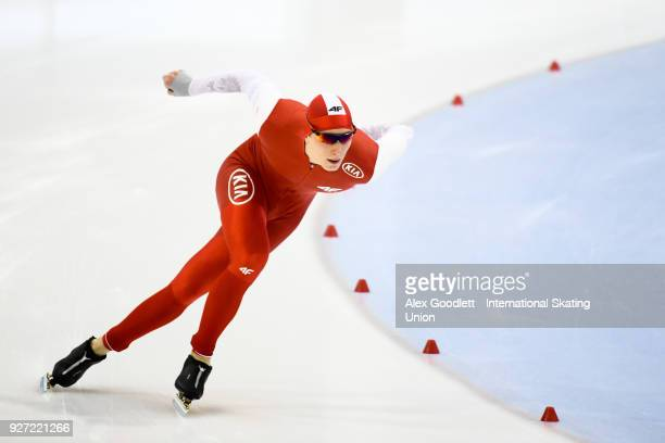 Jan Swiatek of Poland performs in the men's 1500 meter final during day 3 of the ISU Junior World Cup Speed Skating event at Utah Olympic Oval on...