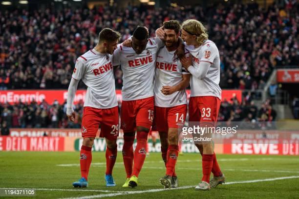 Jan Thielmann Jhon Cordoba Jonas Hector and Sebastian Bornauw of Cologne celebrate after their teams third goal during the Bundesliga match between 1...