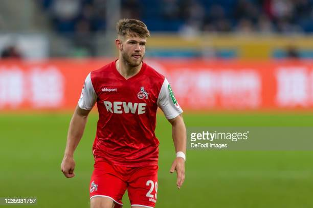 Jan Thielmann of 1.FC Koeln Looks on during the Bundesliga match between TSG Hoffenheim and 1. FC Köln at PreZero-Arena on October 15, 2021 in...
