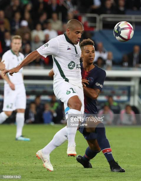 Jan Thilo Kehrer of Paris SaintGermain in action with Gabriel Antunes Da Silva of Saint Etienne ASSE during the French Ligue 1 match between Paris...