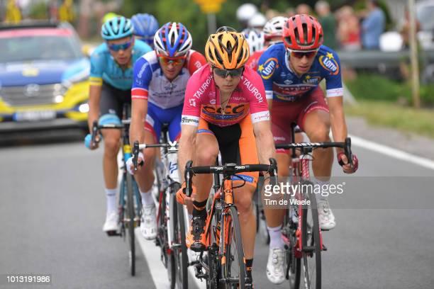 Jan Tratnik of Slovenia and Team Ccc Sprandi Polkowice Pink Mountain Jersey / Jenthe Biermans of Belgium and Team Katusha Alpecin Blue Most...