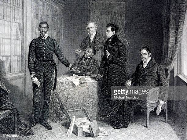 Jan Tzatzoe Anrdris Stoffes Reverend Doctor Philips Reverend Read Senior and Reverend Read Junior giving evidence before the House of Commons in the...