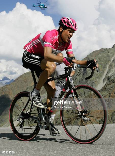 Jan Ullrich of Germany and Team TMobile rides during a mountain climb during the third stage of the Deutschland Tour on August 18 2005 from Kufstein...