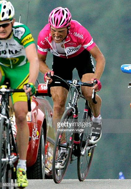 Jan Ullrich of Germany and TMobile reacts as he approaches the finish during Stage 10 of the 92nd Tour de France between Grenoble and Briancon July...